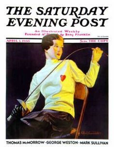 Female Fencer. Cover of the Saturday Evening Post April 1, 1933