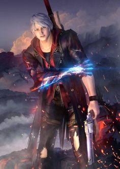 Done by nurikonero-Kan on deviantart. Nero Davil May Cry, Game Character, Character Design, Dante Devil May Cry, Dmc 5, The Evil Within, Bayonetta, Resident Evil, Video Game Art