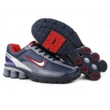 Nike Shox R4 2 Mens Leather Upper all dark blue red 2