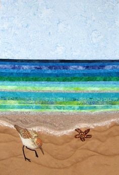 Fabric Art Quilts detailed description and methods -- something like this, only for an Indiana winter scene.