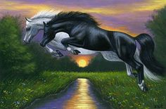 THE MOON JUMPERS......these 2 horses are leaping the moon a spring evening