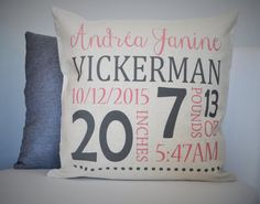 Hey, I found this really awesome Etsy listing at https://www.etsy.com/listing/226470116/personalized-birth-pillow-cover-birth