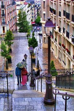 ☂ Rainy Day, Montmartre, Paris, France photo via shelley Places Around The World, Oh The Places You'll Go, Places To Travel, Places To Visit, Around The Worlds, Paris Travel, France Travel, Wonderful Places, Beautiful Places