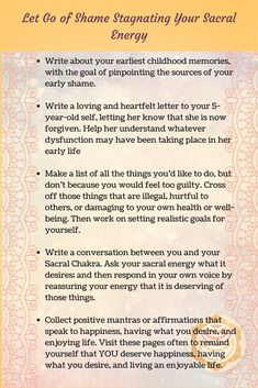 Because guilt and shame are so debilitating to our energetic wellness, it is essential that we learn to interact with this Sacral Chakra demon in a way that can allow healing to occur. If the wounds are deep, counseling should be seriously considered as a Sacral Chakra Healing, Healing Meditation, 2nd Chakra, Reiki Healer, Chakra System, Letter To Yourself, Writing About Yourself, Reiki Energy, 7 Chakras