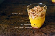 mango passion fruit caramel cups with coconut crumble