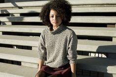 Wicked curls and vintage knit sweater. American Apparel