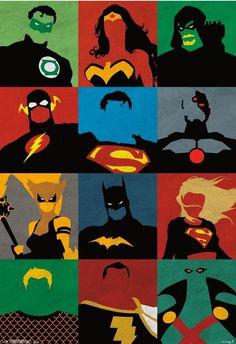Justice League Poster Wonder Woman Superman Batman Flash Minimalist  DC Comics #Minimalism