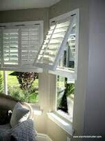 Bahama style shutters will take you on vacation without leaving your home. Coastal Bedrooms, Coastal Living Rooms, Coastal Cottage, Coastal Decor, Coastal Style, Interior Shutters, Interior Windows, Interior Design Tips, Interior Decorating