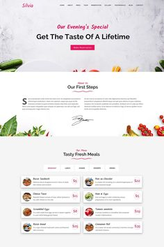 Silvia is a template that will help you designn any cafe, diner and food website. It is a simple, one page solution that will help you expose your business to Joomla Templates, Logo Templates, First Page, First Step, Web Design Software, Change Image, Admin Panel, Website Layout, Landing Page Design