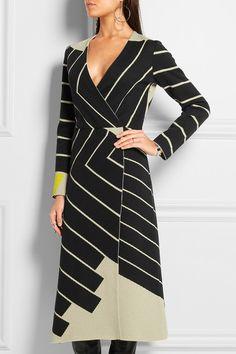 Jil Sander | Striped wrap-effect stretch-knit dress | NET-A-