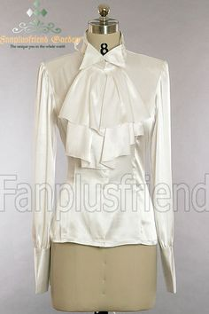 fanplusfriend - Elegant Gothic Aristocrat: Silk Lacing up Shirt with Cravat, $56.64 (http://www.fanplusfriend.com/elegant-gothic-aristocrat-silk-lacing-up-shirt-with-cravat/). Also in black. Jabot removable.