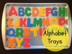 DIY Magnetic Alphabet Trays - so easy to make and your kids will love matching letters! Cookie Sheet Activities, Craft Activities For Kids, Projects For Kids, Diy For Kids, Crafts For Kids, Diy Projects, Kids Learning Alphabet, Toddler Learning, Creative Crafts