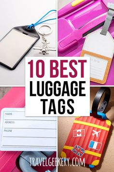 Here's an overview of the best luggage tags for international travel, but actually for any travel. From personalized luggage tags to funny and cute ones, we focus also on the material (leather and such) and design - Kate Spade luggage tags included. Have your suitcase stand out at the airport! #luggagetags #luggagetag #travelgeekery Best Shoes For Travel, Best Travel Gifts, Travel Tips For Europe, Packing List For Travel, Packing Tips, Best Luggage, Travel Luggage, Kate Spade Luggage, Travel Items