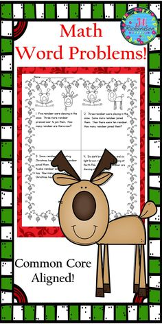 Give your children practice in solving Christmas math word problems using these holiday themed printables! These holiday themed word problems are common core aligned!  Includes:  10 Holiday themed math word problem printables (four problems per page) 40 Holiday themed math word problems with one problem per page (Print according to the needs of your students) 10 Answer Sheets