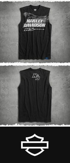 Get a new tat in honor of our 115th then show it off in this bold muscle shirt. | Harley-Davidson Men's 115th Anniversary Sleeveless Slim Fit Tee