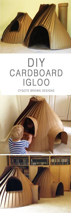 DIY cardboard igloo cubby house by Zygote Brown Designs
