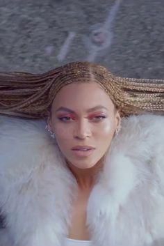 Beyoncé wearing  Rosie Assoulin Cotton Knit Square Neck Bodysuit, Fendi FW15 Fur Coat