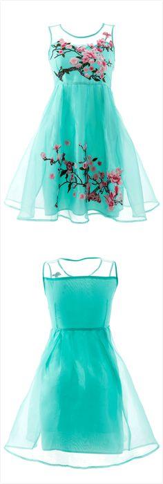 Sheer Mesh Yoke Organza Dress