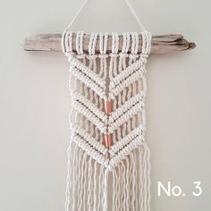 MINI MACRAMÉ Wall Hangings A collection of mini macramé wall hangings...perfect for any little corner, sliver of space, or hard-to-fit spot! Measuring approximately 7 wide by 23 long, one of these minis gives just a hint of bohemian flavor to a space. Hang all three and make it a