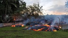 A lava flow is just yards from residences in a Hawaii town, and some residents aren't waiting any longer to leave.