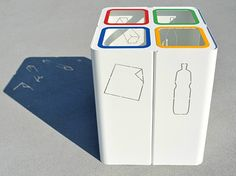 Caixote do lixo em aço para coleta seletiva MINILLERO by CITYSI | design GIBILLERO design
