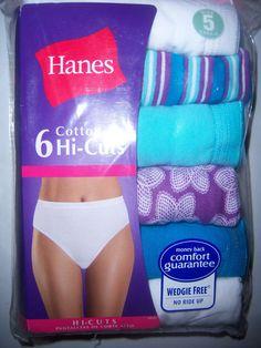 6pr Ladies Hanes Size 6 Panty Briefs Underwear 100 Cotton Assorted ...