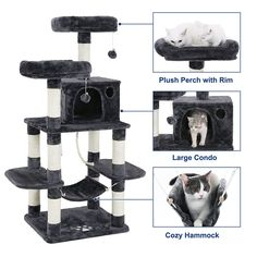 SONGMICS Cat Tree Condo with Scratching Posts Kitty Tower Furniture Pet Play House Bed Grey UPCT85G ** See this great product. (This is an affiliate link) #CatCondoTreeTower