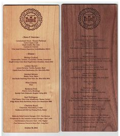 We have 7 different wood species available, engraved with your custom artwork! Wood Menu, Lobster Ravioli, Duck Confit, Menu Boards, Price Quote, Fort Collins, Wood Species, Laser Engraving, Woods