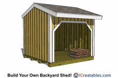 This is a great firewood shed that is easy to build with our simple and user friendly plans. Check out our website to search through our large selection of firewood shed plans.