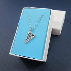 Harp necklace sterling silver charm with chain small gift box 16 inch | Thesingingbeader - Jewelry on ArtFire