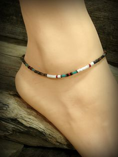 Ankle Bracelet Tribal Ankle Bracelet Boho Anklet Bohemian Jewelry Native American Inspired by StoneWearDesigns Cute Bracelets, Ankle Bracelets, Fashion Bracelets, Beaded Anklets, Beaded Jewelry, Beaded Bracelet Patterns, Beaded Bracelets, Bohemian Style Jewelry, Homemade Jewelry