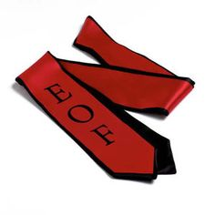 Custom wet dye logo sashes.    Custom wet dye logo sashes are the perfect keepsake for any #graduate. Great for #fraternity, #sorority or #school graduations. Free virtual proof, no screen print or set up charges.    Material: Polyester  Color: Black, Custom Colors, Gold, Hunter Green, Light Gray, Maroon, Navy, Pink, Purple, Red, Royal Blue, White  Minimum Production Time: 49 day(s)  Size: 72""