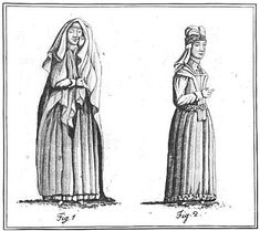 """""""Plate VIII, p.46. Female figures on a monument at Old Kilcullen, in the county of Kildare. Drawn by Mr W Beauford."""" Images from """"An Historical Essay on the Dresses of the Modern and Ancient Irish"""" by Joseph C. Walker, 1788. It is available free on Google Books."""
