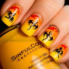Fire nails or dragon nails with a fiery gradient and images from Nailways dragons plate.  The fire at the top is bundlemonster BM018.