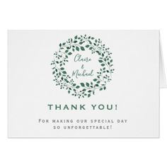 Rustic Greenery Wreath | Thank You Wedding Card - rustic gifts ideas customize personalize