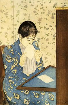 """""""The Letter"""" by Mary Cassatt (1891) - """"Mary Cassatt often depicted the private lives of women & children in these paintings, which she created in the Japanese wood block print style."""""""