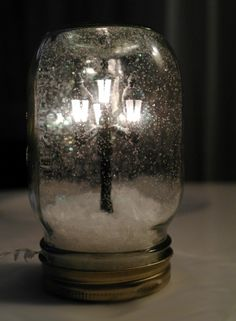 Snowglobe In a Mason Jar - how'd they get that street light in there??