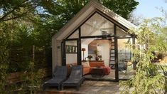 The Beach Edition: a contemporary tiny house with a large front window and room to comfortable sleep up to 4 people! Tiny House Cabin, Small House Plans, Tiny Houses, Prefab Cottages, Building A Cabin, Boat Building, Building Plans, House Names, Luxury Cabin