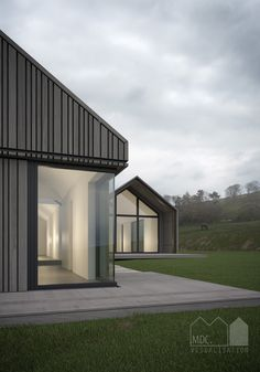 Visual by Matt Clayton. Cedar clad single storey house in the green belt. MSA…