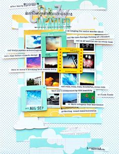 """love the grid work here and the fabulous use of journal strips and frames.  This is orderly """"haphazard""""ness.  Perfect.    Picture 1 of Crazy Weather by Jill_S"""