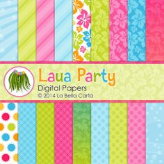 Luau Party 18 patterned digital papers for by LaBellaCarta on Etsy, $5.00