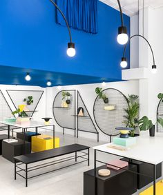 masquespacio paints valencia lifestyle store with block colors + bold lines