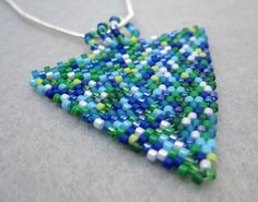 Beaded Pendant Necklace Peyote Triangle Ocean by randomcreative.