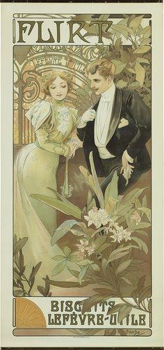 ALPHONSE MUCHA (1860-1939) FLIRT. 1899. ✖️Alphonse Mucha (Czech, 1860 - 1939). ✖️FOSTERGINGER AT PINTEREST ✖️