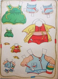 Cuddles--I remember these beach clothes for my Cuddles cut-out doll; funny how some memories last so many decades...
