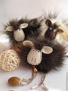 Новый год 2016 ручной работы. Ярмарка Мастеров - ручная работа. Купить Овечки №2. Handmade. Новый Год, искусственный мех