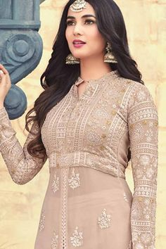 Buy Resham Embroidered Beige Faux Georgette Trouser Pant Suit Online - LSTV02883 | Andaaz Fashion Mehndi, Stylish Suit, Trouser Pants, Beige Color, Chiffon, How To Wear, Stuff To Buy, Clothes, Dresses
