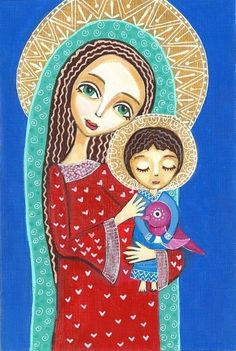 Folk Art Painting Madonna and Child Print 8 x 10 inch Religious Icons, Religious Art, Blessed Mother Mary, Mary And Jesus, Madonna And Child, Arte Popular, Mexican Folk Art, Sacred Art, Christian Art