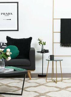 Living room décor styling | Emerald green décor accents | Gold décor accents Floor rug inspo | Sourced via @adoremagazine #wishtankworthy ♥