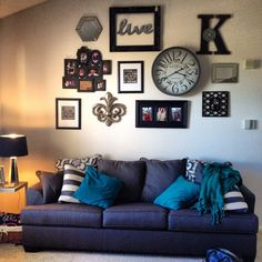 above couch decorating ideas | Wall collage! | Interior Design | Pinterest | Collage, Clock and Couch